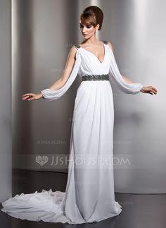 Corte A/Princesa Escote en V Cola capilla Chifón Vestido de novia con Volantes Bordado (002012610)