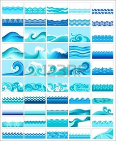 collection of marine waves stylized design Stock Vector