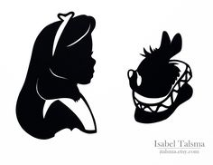 Alice in Wonderland (Alice and the White Rabbit) Handcut Disney Silhouettes Have a project in mind for these Disney Diy, Disney Crafts, Disney Love, Disney Magic, Alice In Wonderland Silhouette, Alice In Wonderland Party, Adventures In Wonderland, Simba Et Nala, Silhouettes Disney