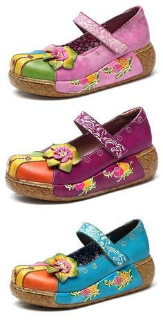 cb7b26f5a95b SOCOFY New Printing Splicing Handmade Flower Flat Leather Shoes.Flash Deals  Every Day.Up