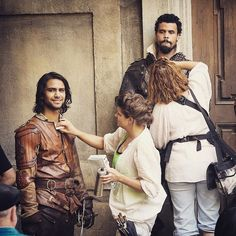 The Musketeers BtS for series II via BBCOne on Instagram: 'Our Musketeers preparing for battle by...getting their hair and make-up done?!'