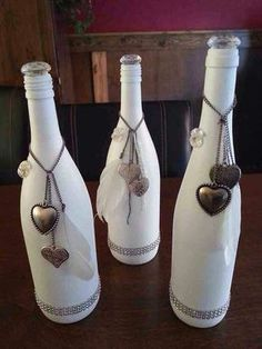 White Painted Wine Bottle With Hearts Craft