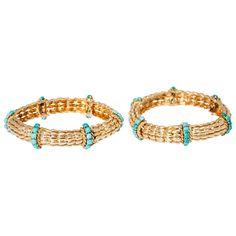 David Webb Turquoise Gold Bracelets