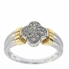 0.20 Cttw G VS Round Diamond Cocktail Ring in 14K Two Tone Gold by GetDiamondsDirect on Etsy