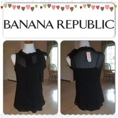 XMAS SALE  Black Blouse Color: black. See through with attached camisole. Close neck with long ribbon so you can style it depending on how you want to style it. Shell and lining 100% polyester. Banana Republic Tops Blouses
