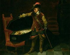 """Paul Delaroche -  """"Cromwell and the corpse of Charles I"""" 1831 oil on canvas Hamburger Kunsthalle Wikimedia Commons"""
