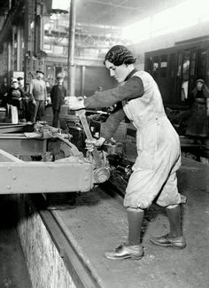 Women in France filled all sorts of men's jobs during WWI.  This woman is repairing the Paris Metro cars in March 1917.