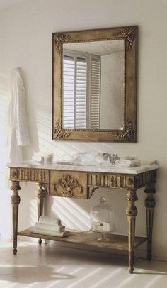 antique french table/powder room vanity
