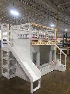 Haylie's Villa Bed, Available as a Loft or Bunk Bed w/ Optional dual use trundle, Slide w/ Storage and Staircase w/ Storage. Full Size Trundle Bed, Trundle Bed With Storage, Built In Storage, Benjamin Moore, Loft, Playhouse Bed, Toddler Bunk Beds, Staircase Landing, Bunk Beds With Stairs