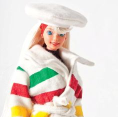 Barbie wore Hudson's Bay Company coat in This was a special limited edition Barbie from Mattel. Barbie Blog, Barbie And Ken, Hudson Bay Blanket, Meanwhile In Canada, Camping Blanket, Bride Dolls, Barbie Accessories, Candy Stripes, Hand Puppets