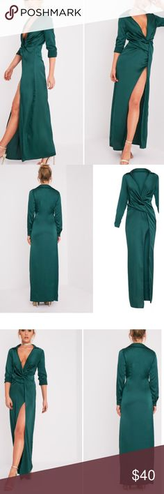 Dress Beautiful emerald green long twist front dress. Worn only once, may need dry cleaning. Work effortlessly sophisticated style in this dreamy wrap dress. Featuring a thigh high split, wrap over front and lightweight satin fabric, style with a pair of in season heels to slay the look! Dresses Maxi