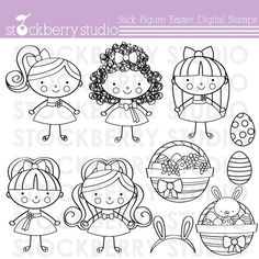 Stick Figure Easter Digital Stamp Personal and by stockberrystudio, $4.00