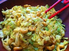 Cashew Cabbage... In this recipe the flavors are wonderful, plus it's versatile - you can use what you have on hand!!