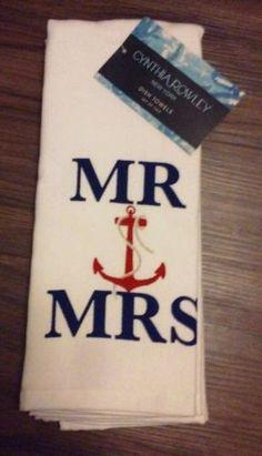 Cynthia Rowley New York Dish Towels Set Of 2 mr/mrs W/anchor - Nautical *new* Cynthia Rowley, Mr Mrs, Dish Towels, Anchor, Nautical, York, Navy Marine, Anchor Bolt, Nautical Style