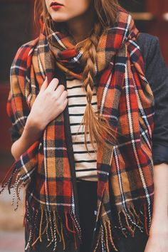 mixing patterns and layers for Fall #plaid #scarf $stripes