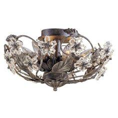"Paris Flea Market  16"" Wide Rust Crystal Ceiling Fixture - #08852   LampsPlus.com"