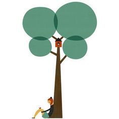 Bajo un árbol pegatina - hija