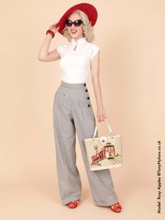 40s-1940s-Swing-Trousers-Mini-White-Check-Black-Vivien-of-Holloway-swing-pinup-rockabilly