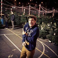 Nick Pitera picking out a Christmas tree ♥ I love his sweatshirt.