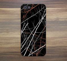Neon Orange x White Winter Tree Branches Design hard plastic phone case cover for Apple iPhone 4 4s 5 5s 5c 6 6s plus