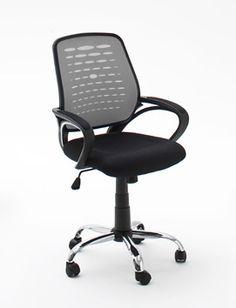 Drehstuhl Eric moderner Bürostuhl silber - schwarz 1 x Drehstuhl Drehstuhl mit Armlehnen atmungsaktive Netz-Bespannung im Rücken Armlehnen mit Mesh gepolstert...