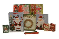 Christmas gift bag and tissue paper, assorted sizes, 20 piece set
