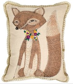 Cushion - linen with hand screen print and embroidery details