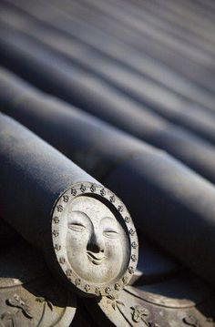 Smiling roof tiles of Hwaeomsa Temple in South Korea.