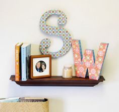 Hey, these are the initials I grew up with! I love the way you can use all that scrapbook paper for so much more than just scrapbooking. It adds a personal touch to your home.