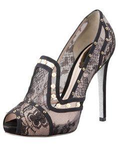 Rene Caovilla Crystal & Pearl Stud Lace Loafer Pump - Bergdorf Goodman