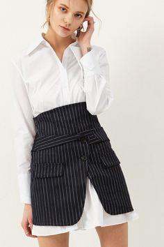 Piena Shirt Wrap Skirt Set Discover the latest fashion trends online at storets.com #shirtskirtset #wrapskirt #whiteshirt