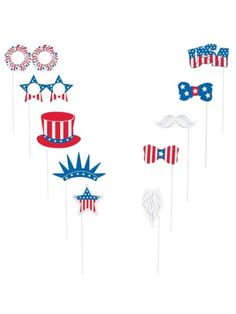 Patriotic Photo Booth Props Kit - Party Games and Individualized Party Supplies