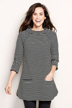 Women's 3/4-sleeve Textured Ponté Tunic Top - Stripe from Lands' End