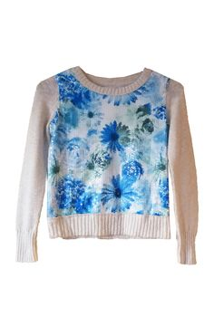 Girls Justice Floral Sequin Sweater - Size 8
