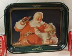 Coca Cola Tray, Serving Tray, Santa Tray, Coke Advertisment. $17.00, via Etsy.