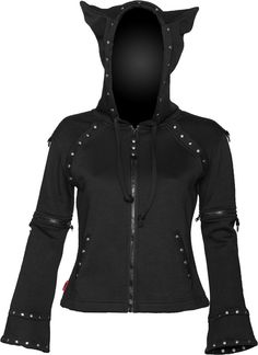 Girls zipper jacket with horned hood. Horns look like cat ears, but still cute! Click to purchase