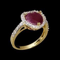 Anel Folheado a ouro 18 kilates coração de pedra natural rubi indiano e pedrinhas de zircônias