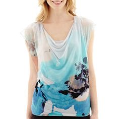 Worthington® Drape Neck Banded Bottom Top - JCPenney. Drape necks are also flattering and this is a great print.