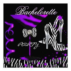 Bachelorette Zebra Purple Cocktail Personalized Invitation