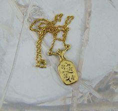 Vintage White Enamel Pendant Necklace with Scrolling Petal