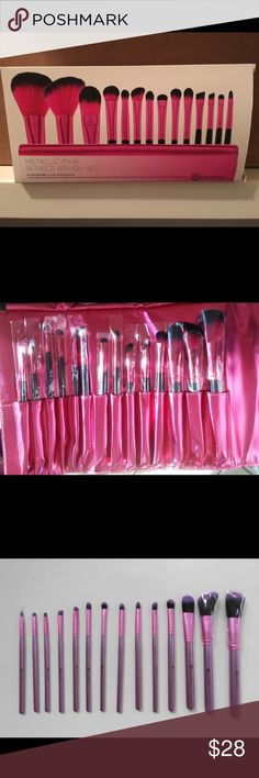 Metallic Pink 14 Piece Brush Set Talk about heavy metal! This versatile 14 Piece Metallic Pink Brush Set features classic, cruelty-free brushes for face, eyes, and lips -- all in eye-popping electric pink and black to add a jolt of color to your makeup table. The soft synthetic bristles work with creams and powders and allow you to achieve professional makeup application every time. The collection comes in a matching roll-up, snap-close clutch for storage   BH Cosmetics  Guaranteed 100%…