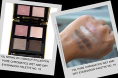 YSL Spring 2013 Makeup Collection - Pure Chromatics Wet and Dry Eyeshadow Palette 19 - Swatches
