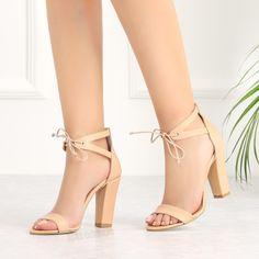 Deynap Ten Rengi Bilekten Bağlı Kalın Topuklu Kadın Ayakkabı #sandals #beige #heels Stiletto Heels, Shoes, Fashion, Weird Shoes, Feminine, Moda, Zapatos, Shoes Outlet, Fashion Styles