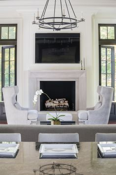 our favorite Fireplace Trends - Studio McGee Tv Over Fireplace, Family Room Fireplace, Home Fireplace, Fireplace Surrounds, Fireplace Design, Limestone Fireplace, Fireplace Ideas, Cast Stone Fireplace, Classic Fireplace