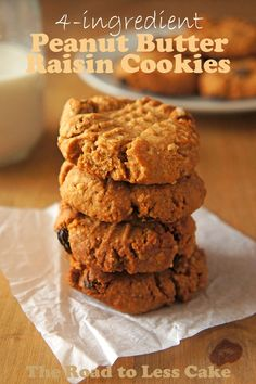4-ingredient Peanut Butter Raisin Cookies | The Road to Less Cake