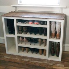 It's purge and organize season around here and this DIY Shoe Storage Cabinet hits the spot  Free plans on our site for this piece of our modular closet storage system is up! Link in profile  #shanty2chic #organization