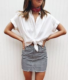 Styling a gingham skirt with a white top