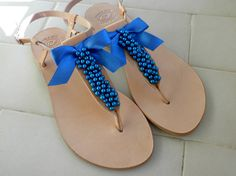 Greek leather sandals - Wedding sandals- Blue pearls decorated leather sandals- Bridesmaids shoes-Summer flats-Blue beaded leather sandals