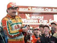 Terry Labonte sprays champagne after winning the of his 2 Cup Championships in Labonte, who also won the title, made 665 conseecutive starts in NASCAR's premier series, a record which stood until Bobby Labonte, Terry Labonte, Nascar Racing, Kyle Larson, Brad Keselowski, The Iceman, Big Love, Race Cars