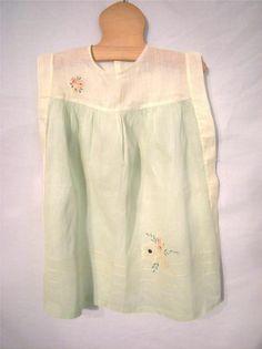 Vtg 40's 50's Girls Mint Green Organdy Dress w Embroidery Size 2 3 | eBay